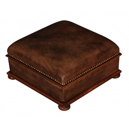 Hand Dyed Brown Leather & Walnut Footstool