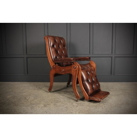 Rare Mahogany & Buttoned Brown Leather Reclining Chair