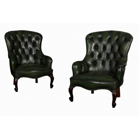 Victorian Pair of Green Leather Spoonback Chairs