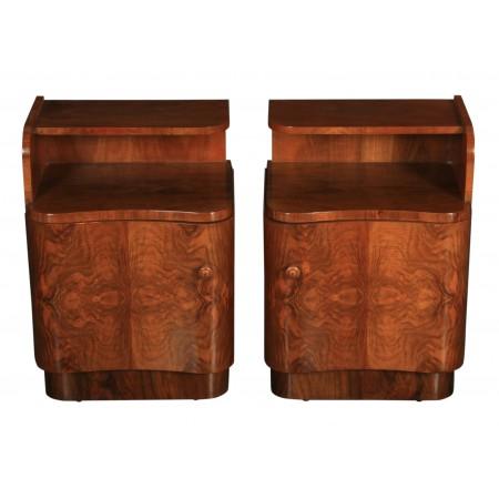 Pair of Art Deco Walnut Serpentine Bedside Cabinets