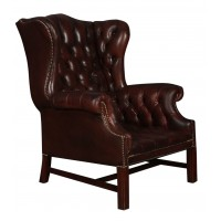 Brown Leather Buttoned Wing Chair