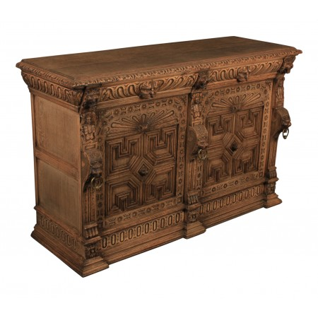 French Bleached Oak Carved Sideboard