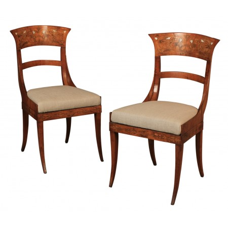 Pair of Walnut Dutch Marquetry Inlaid Chairs