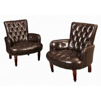Pair of Brown Buttoned Leather Chesterfield Club Chairs