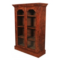 Stunning Burr Walnut Glazed Bookcase