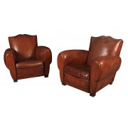 Pair of Original French Leather Club Chairs