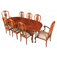 Queen Anne Style Walnut Extending Dining Table & 8 Chairs