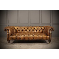 Exceptional Hand Dyed Tan Leather Shaped Chesterfield Sofa