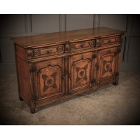 Distressed Ipswich Oak Carved Sideboard by Harrods