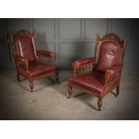 Pair of Victorian Oak & Leather Library Chairs