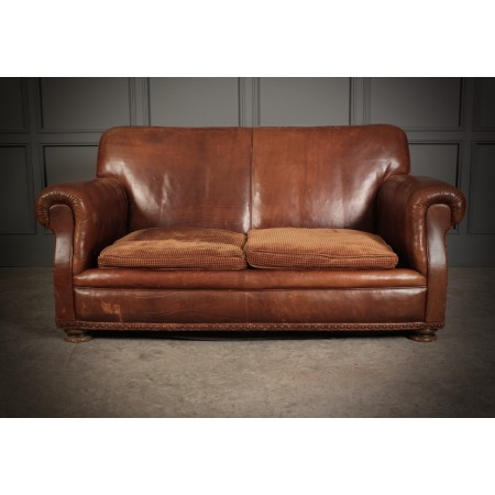 Vintage Brown French Leather Club Sofa