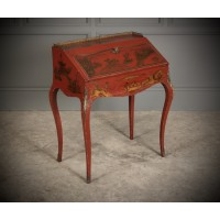 Red Chinoiserie Japanned Shaped Bureau