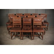 Set of 12 French Walnut & Embossed Leather Dining Chairs