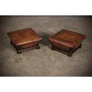 Pair of Regency Rosewood & Leather Footstools