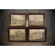 Set of 4 Matching Rosewood Frames with Fox Hunting prints