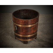 Oak & Brass Barrel Coal Bucket