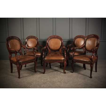 Set of 6 Anglo Indian Rosewood Armchairs