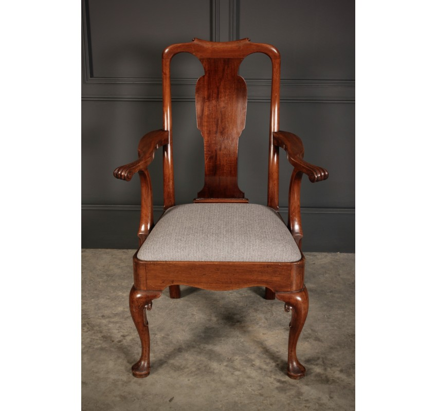 Pair of Quality Queen Anne Style Armchairs