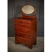 Tall Inlaid Mahogany Gentlemans Dressing Chest