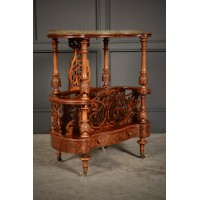 Shaped Burr Walnut Canterbury Magazine Rack