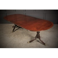 19th Century Solid Mahogany Twin Pillar Dining Table