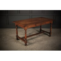 French Solid Oak Writing Table