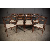 Set of 8 Regency Brass inlaid Rosewood Dining Chairs