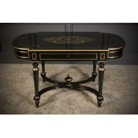 Brass Inlaid Ebonised Centre Table