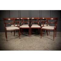 Set of 8 Regency Mahogany Bar Back Dining Chairs