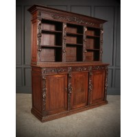 Impressive Carved Oak Bookcase