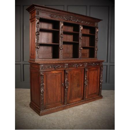 Impressive Carved Oak Bookcase