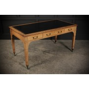 """Large Bleached Oak Writing Table Desk by """"Gillows"""""""