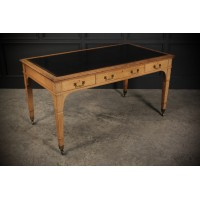 "Large Bleached Oak Writing Table Desk by ""Gillows"""