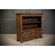 Solid Ipswich Oak Carved Open Bookcase
