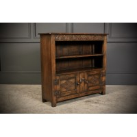 Solid Ipswich Oak Carved Open Bookcase