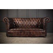 Hand Dyed Dark Brown Leather Chesterfield Sofa