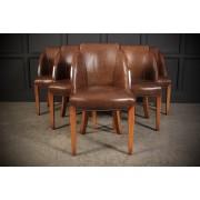 6 Art Deco Walnut & Leather Epstein Cloud Chairs