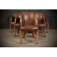 6 Art Deco Walnut & Leather Epstein Cloud Chairs