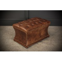 Regency Hand Dyed Buttoned Leather Ottoman