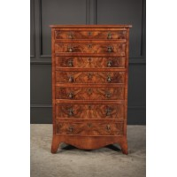 Tall Slim Bow Front Figured Walnut Office Chest