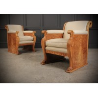 Pair of French Art Deco Walnut & Leather Armchairs