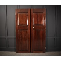 Pair of Large Solid Mahogany Panelled Doors