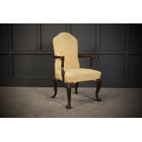 Edwardian Carved Mahogany Armchair
