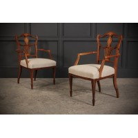 Pair of Marquetry Inlaid Rosewood Chairs