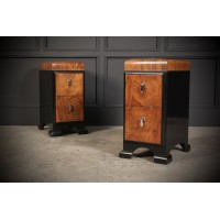Pair of Art Deco Walnut & Ebonised Bedside Cabinet