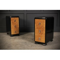 Art Deco Ebonised & Walnut Bedside Chests