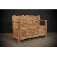 Solid Oak Box Settle c.1920