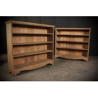 Pair of Rustic Oak Open Bookcases