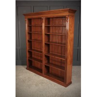 Large Victorian Walnut Open Double Bookcase