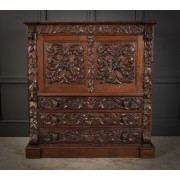 Profusely Carved Oak Cabinet
